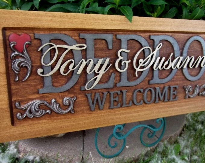 Family Welcome  Plaque  carved wood   painted lettering