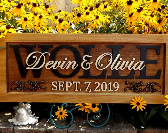 Rustic finish Personalized Family Name Signs  custom wedding gift CARVED Wooden Wedding