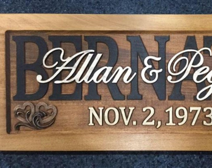 Rustic finish Wedding, Anniversary Plaque !!!Free shipping!!!!!! 2HRTS Wave