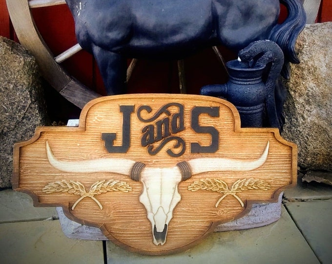 Custom Western Plaque / carved wood / rustic finish /