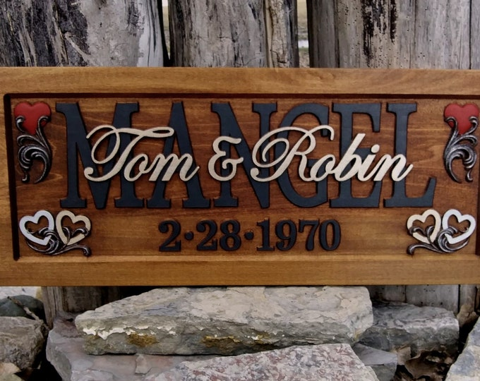 Wedding Anniversary Plaque  carved wood   painted lettering !!!Free Shipping!!!