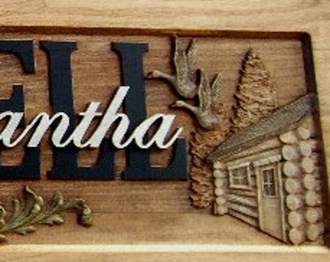Deer  Cabin  Geese Anniversary gift  Wedding gift  Personalized Carved Wooden Plaque  carved art