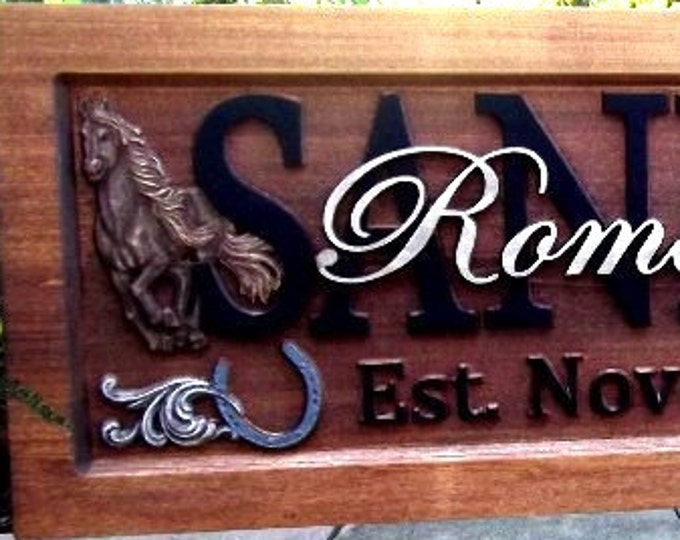 Painted /Western / Ranch /  Anniversary gift / Wedding gift / Personalized Carved Wooden Plaque / carved art