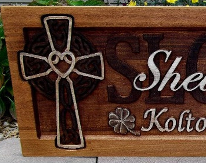 Celtic Cross  Golden Mahogany Rustic  finish  Clover accents wedding anniversary gift