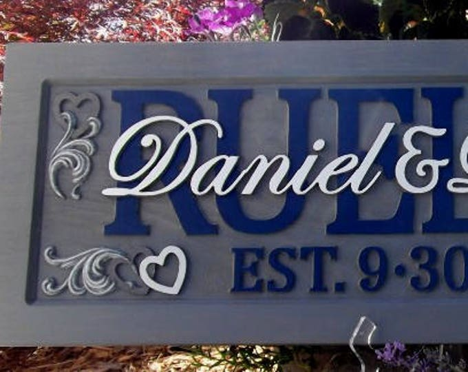 Anniversary / Wedding Plaque Weathered Grey finish