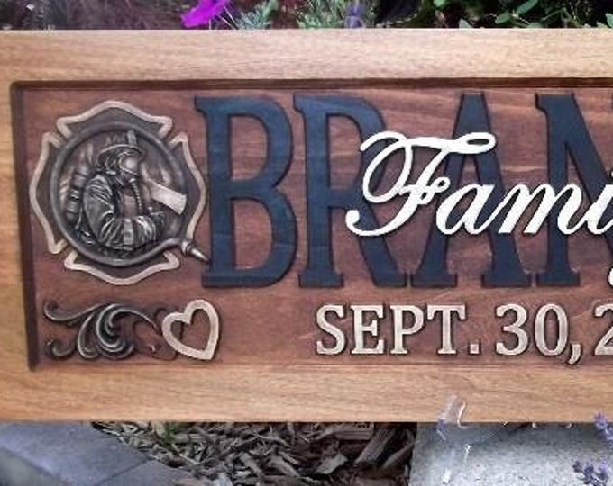 Fire fighter Family Plaque rustic finish