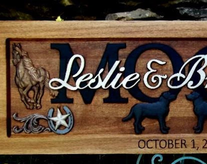 Western  Labradors painted finish Anniversary gift  Wedding gift  Personalized Carved Wooden Plaque  carved art