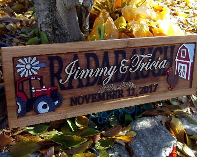 Farm Scene, Red tractor, Anniversary gift , Wedding gift,  Personalized Carved Wooden Plaque,  carved art