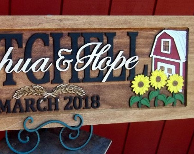Family, Farm Sign,    Green or Red tractor, Sunflowers, Anniversary gift , Wedding gift