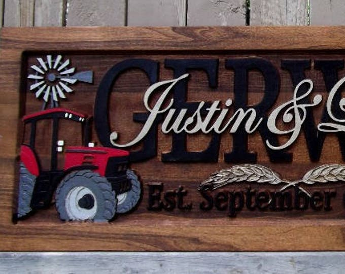 Farm Scene Red tractor Anniversary gift  Wedding gift  Personalized Carved Wooden Plaque  carved art