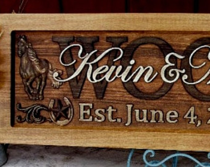 Rustic finish Stars and Horseshoes Anniversary gift  Wedding gift  Personalized Carved Wooden Plaque  carved art