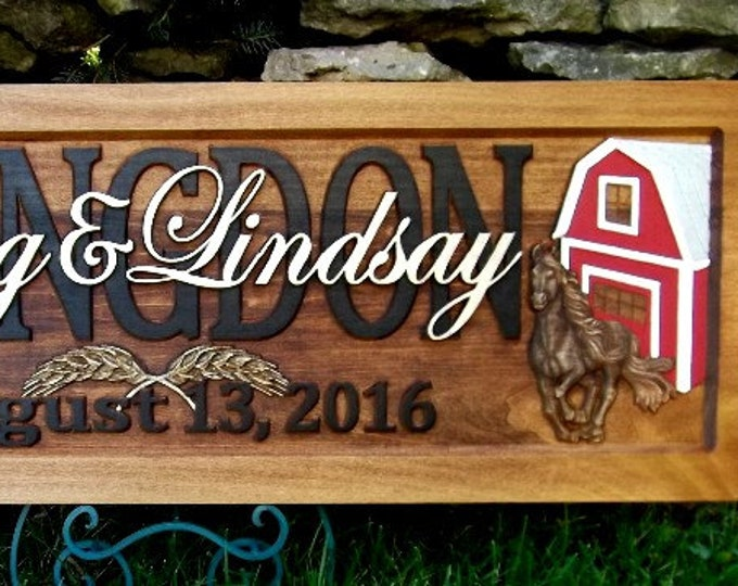 Farm Scene Running Horse Anniversary gift  Wedding gift  Personalized Carved Wooden Plaque  carved art