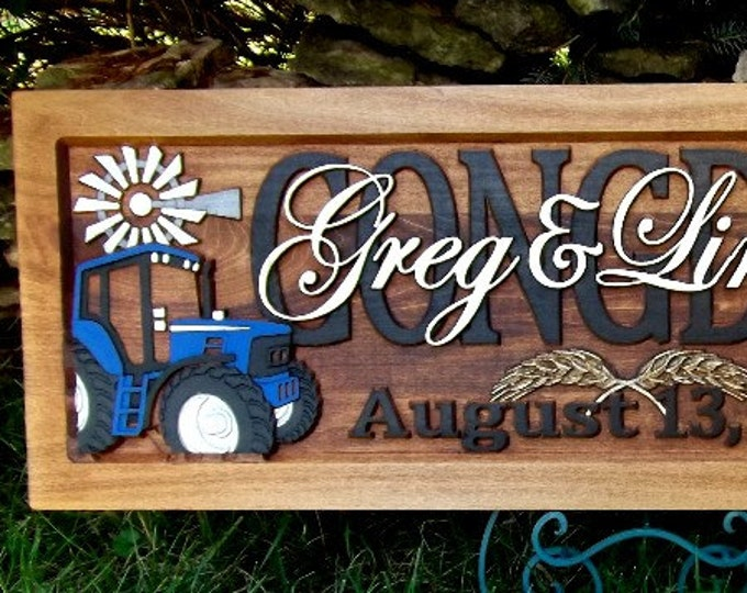 Farm Scene  Blue tractor Running Horse Anniversary gift  Wedding gift  Personalized Carved Wooden Plaque  carved art