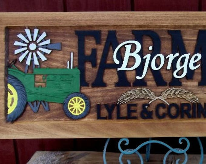 Farm Scene  green tractor  Anniversary gift  Wedding gift  Personalized Carved Wooden Plaque  carved art
