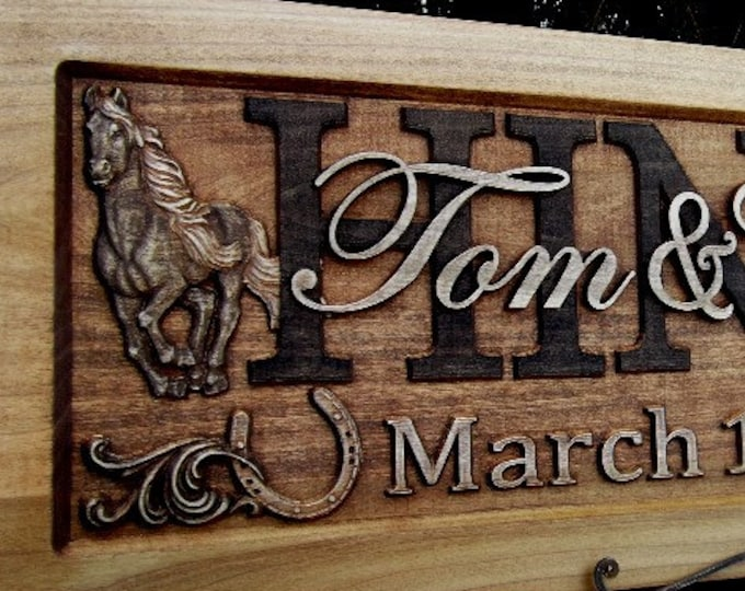 Rustic finish  Western  /  Anniversary gift / Wedding gift / Personalized Carved Wooden Plaque / carved art