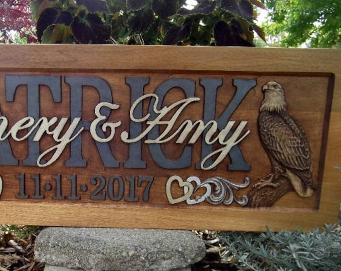 Eagle Personalized Family Name Signs custom wedding gift