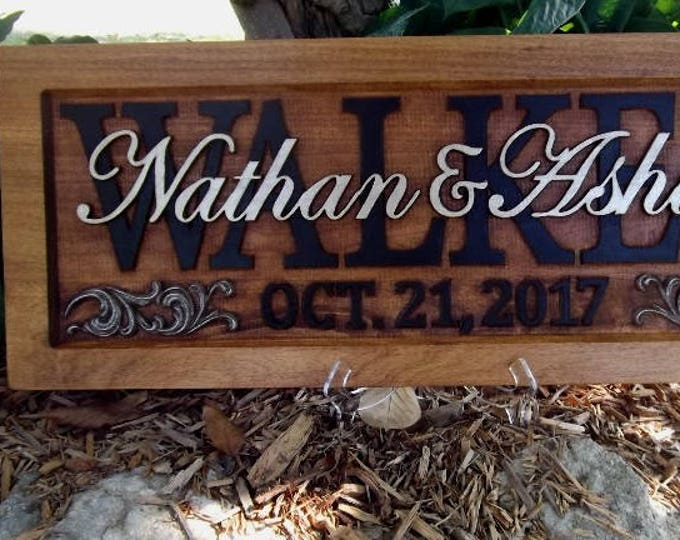 Personalized Family Name Signs  custom wedding gift CARVED Wooden Wedding Established Anniversary Shower Gift
