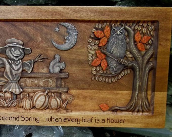 Wooden picture, Autumn secenery
