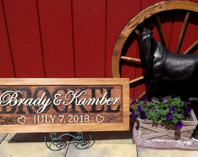 Wedding, Anniversary Plaque, carved wood, family name sign