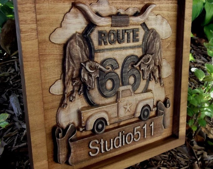 Route 66 custom carved plaque rustic finish