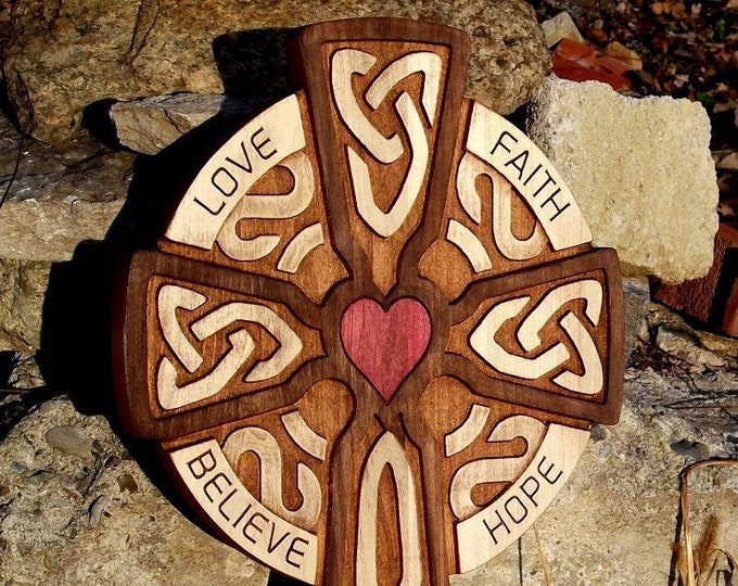 "Large Celtic carved wooden cross (rustic,red heart) Love Faith Hope Believe 12"" x 19"""