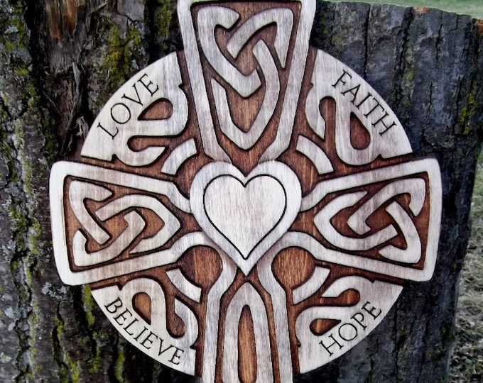 Large Celtic carved wooden cross (rustic) Love Faith Hope Believe