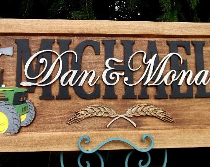 Farm Scene /Green tractor /Geese/Anniversary gift / Wedding gift / Personalized Carved Wooden Plaque / carved art