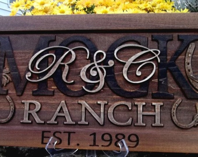 Rustic finish  Western  Ranch   Anniversary gift  Wedding gift  Personalized Carved Wooden Plaque / carved art