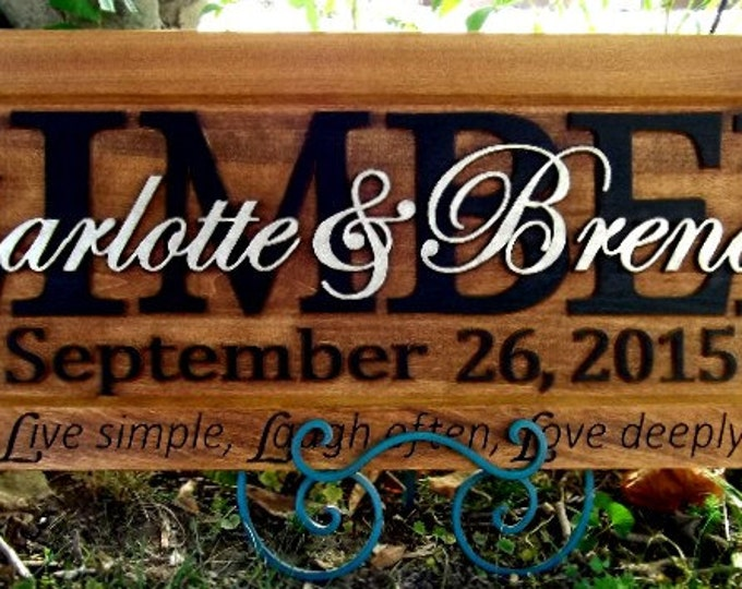 Live, Laugh, Love  Red hearts & filigree  Wedding gift Family Name Sign Last Name Custom CARVED Wooden Plaque Established Anniversary Est.