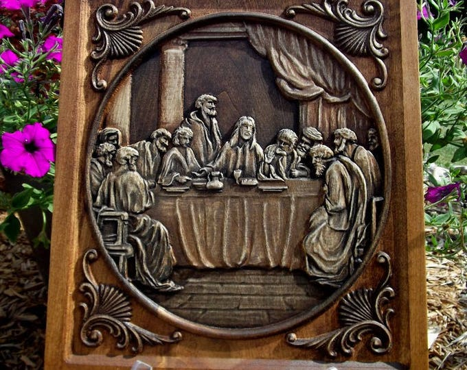 Last Supper Carved Wooden Plaque