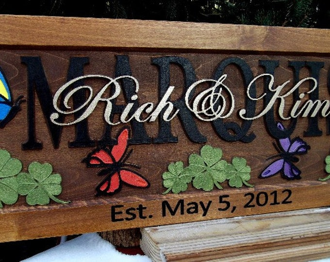 Butterflies and Clover..Anniversary gift / Wedding gift / Personalized Carved Wooden Plaque / carved art