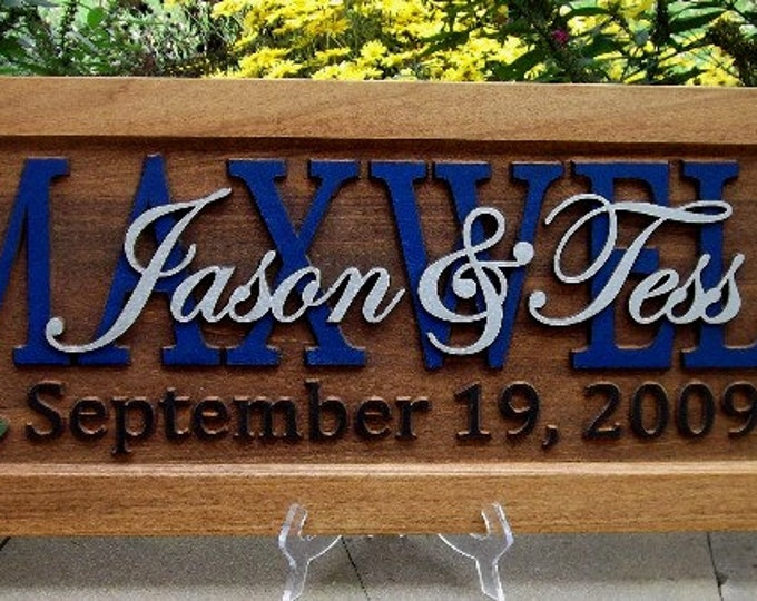 Trout & Cattails  /.Anniversary gift / Wedding gift / Personalized Carved Wooden Plaque / carved art