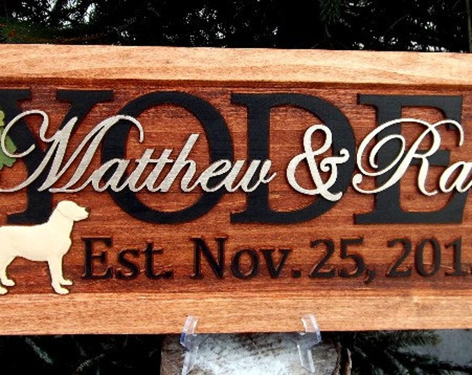 Labradors /Anniversary gift / Wedding gift / Personalized Carved Wooden Plaque / carved art