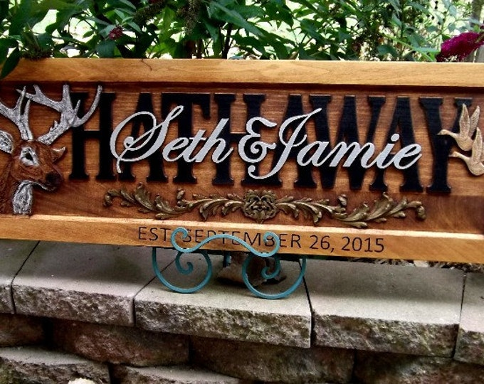 Deer & Geese  Design  Wedding date in frame  Greenman