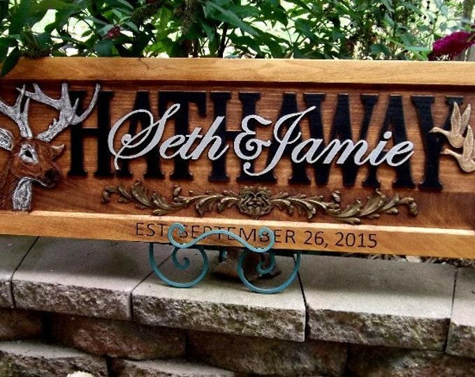 Deer & Geese  Design  Wedding date in frame  Greenman