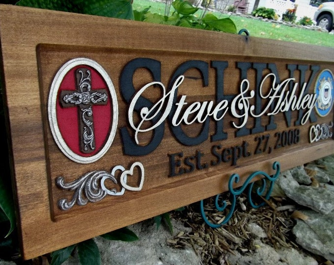 Family Name Sign Last Name Personalized Custom CARVED Wooden Plaque