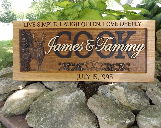 Anniversary Plaque, Rustic finish, Deer, hearts, frame engraving