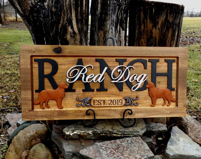Retrievers  / Personalized Carved Wooden Plaque / carved art