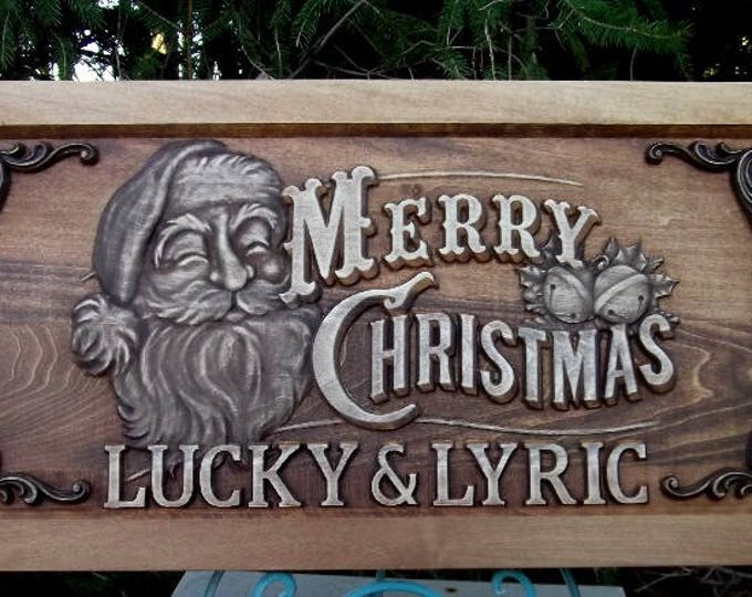 Custom Merry Christmas  Rustic Golden Mahogany Stain