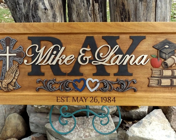 Custom carved family name sign