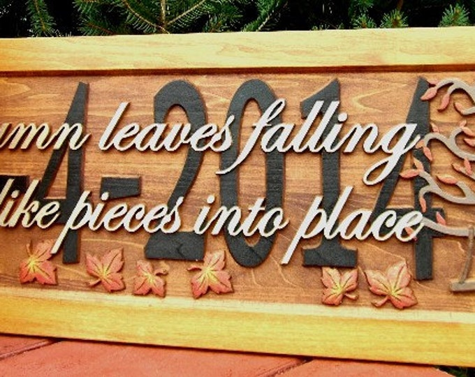Leaves falling down  Anniversary gift  Wedding gift  Personalized Carved Wooden Plaque