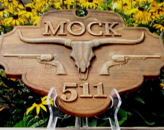 Western Address Plaque / carved wood / rustic finish