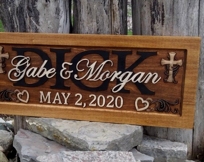 Wedding Anniversary Plaque  rustic finish