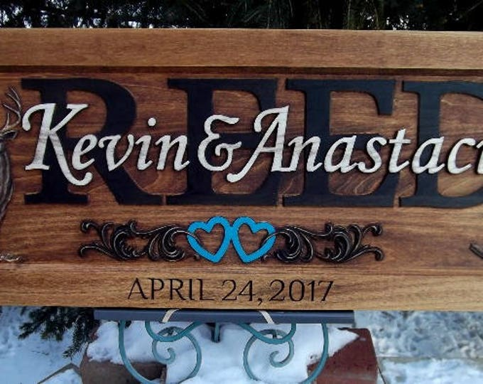 Anniversary Plaque, Rustic, Deer, Boots, turquoise hearts