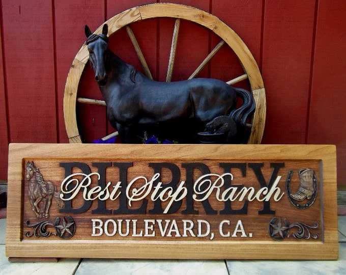 Ranch Plaque, Rustic Finish, horses