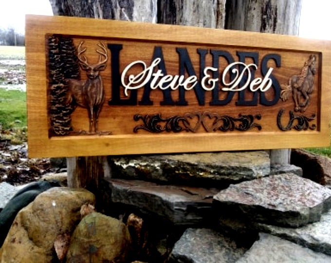 Rustic finish  Deer  and Horse, double hearts