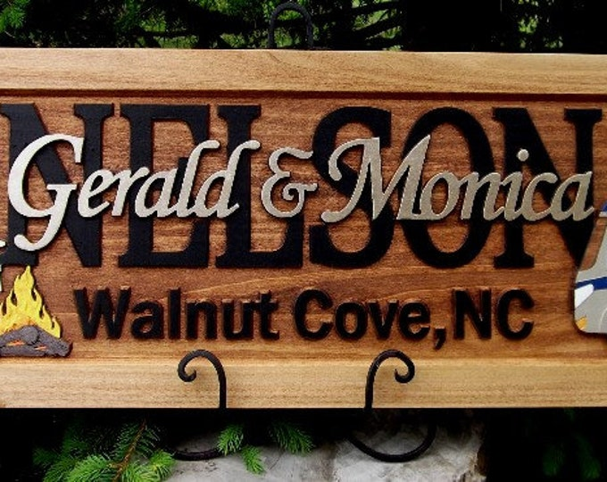 Camping scene  /Anniversary gift / Wedding gift / Personalized Carved Wooden Plaque / carved art
