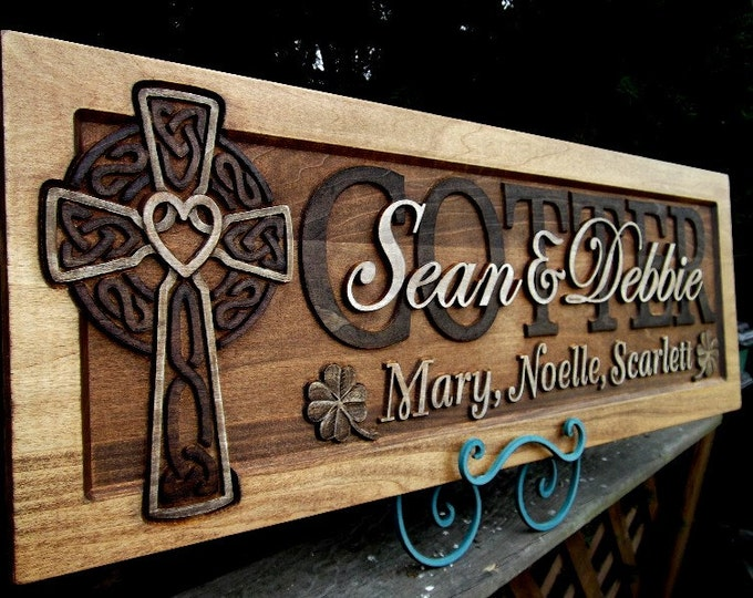 Celtic Cross  Golden Mahogany Rustic  finish  Clover accents wedding anniversary gift
