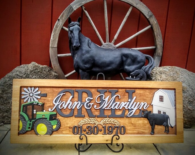 Farm Scene, Green tractor,  Anniversary gift,  Wedding gift,  Personalized Carved Wooden Plaque,  carved art