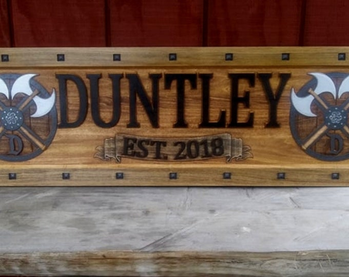 Family shield plaque, rustic finish